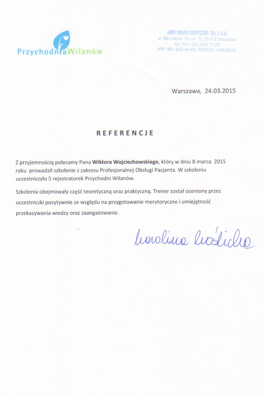 referencje wilanow - Przychodnia Wilanów