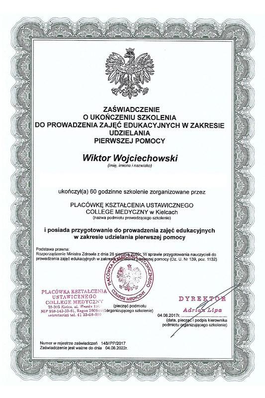 obslugapacjenta pl instruktor pierwszej pomocy 533x800 - Wiktor Wojciechowski