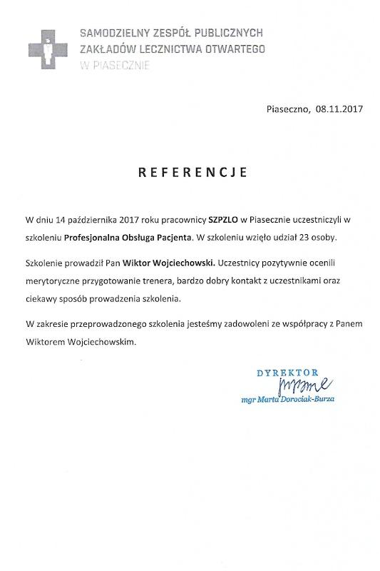 referencje zoz piaseczno - SZP ZLO w Piasecznie