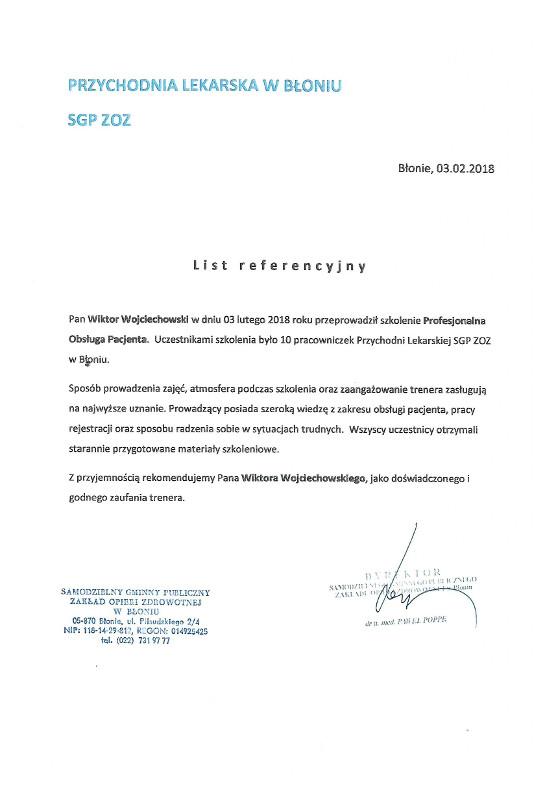 referencje zoz blonie - ZOZ Błonie